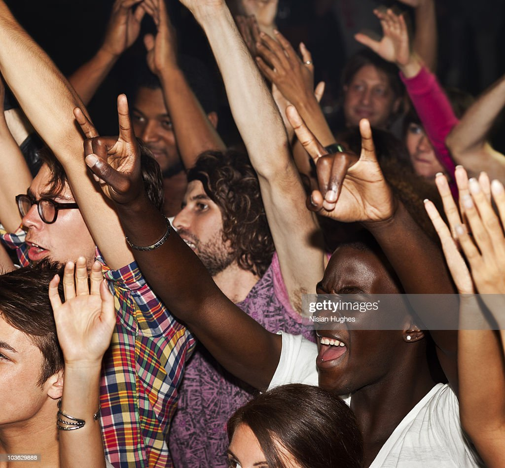 Large crowd cheering : Stock Photo