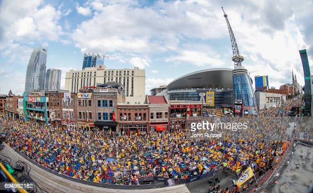 A large crowd fills Broadway before the start of Game Six of the 2017 NHL Stanley Cup Final between Nashville Predators and the Pittsburgh Penguins...