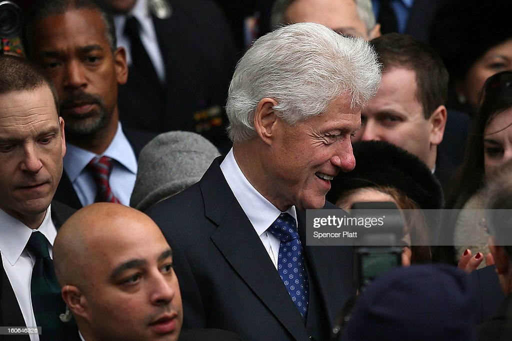 A large crowd gathers around former U.S. President <a gi-track='captionPersonalityLinkClicked' href=/galleries/search?phrase=Bill+Clinton&family=editorial&specificpeople=67203 ng-click='$event.stopPropagation()'>Bill Clinton</a> (C) following the funeral services for former New York Mayor Ed Koch at Manhattan's Temple Emanu-El on February 4, 2013 in New York City.The iconic former New York mayor passed away on February 1, 2013 in New York City at age 88. Ed Koch was New York's 105th mayor and ran the city from 1978-89. He was often outspoken and combative and has been credited with rescuing the city from near-financial ruin during a three-term City Hall run.