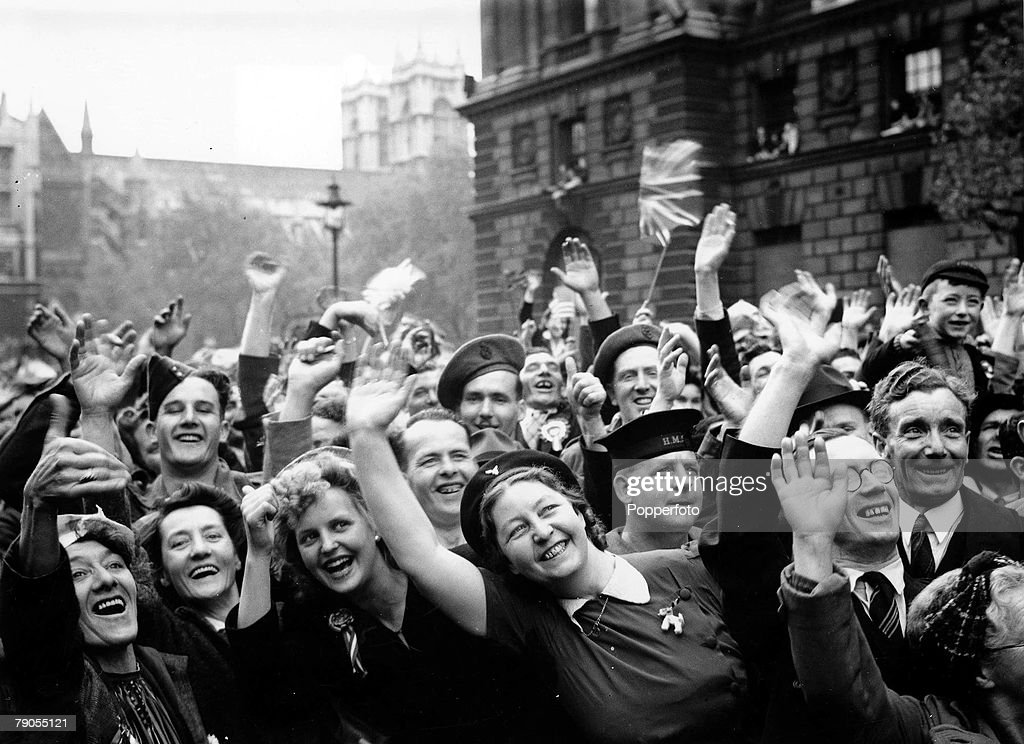 Volume 2, Page 70, Picture 6, World War II, 8th May 1945, Whitehall, London, England, VE Day crowds are in high spirits after Prime Minister Winston Churchill+s speech