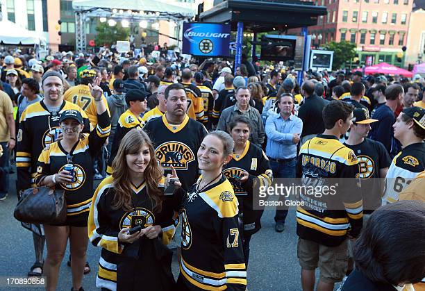 A large crowd listened to a live band outside the Garden before the game at the 'Fan Fest' The Boston Bruins hosted the Chicago Blackhawks for Game...
