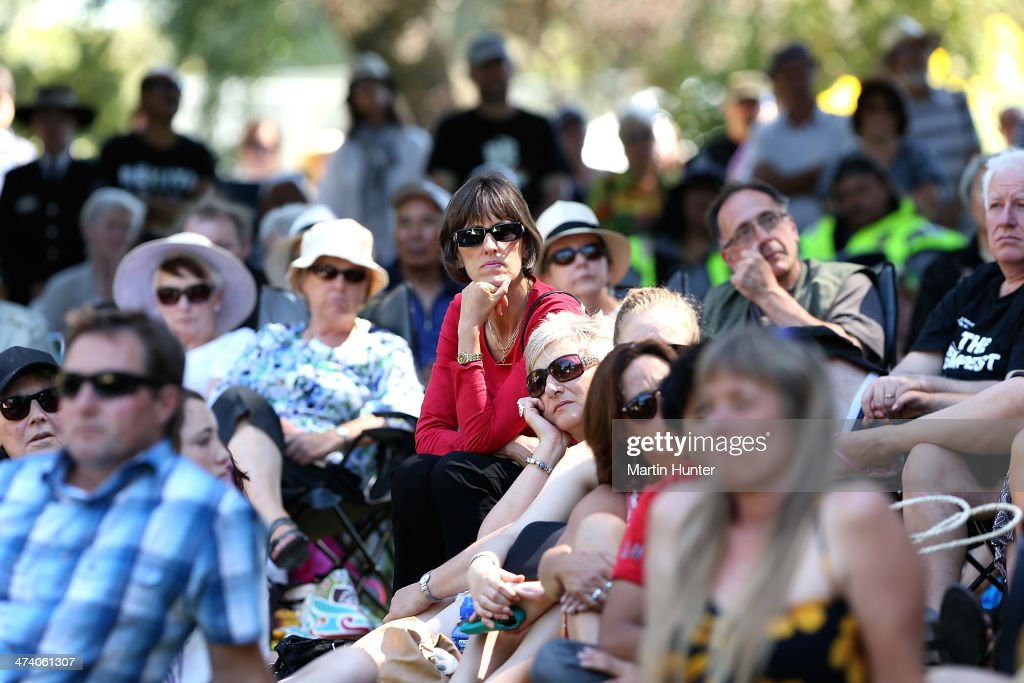 A large crowd listens to speeches during a Civic Memorial Service held in the Botanical Gardens for victims of the 2011 Christchurch Earthquakes on February 22, 2014 in Christchurch, New Zealand. The earthquake measuring 6.3 in magnistude devastated Christchurch killing 185 people and causing an estimated $40 billion in damage to the city's buildings and infrastructure.