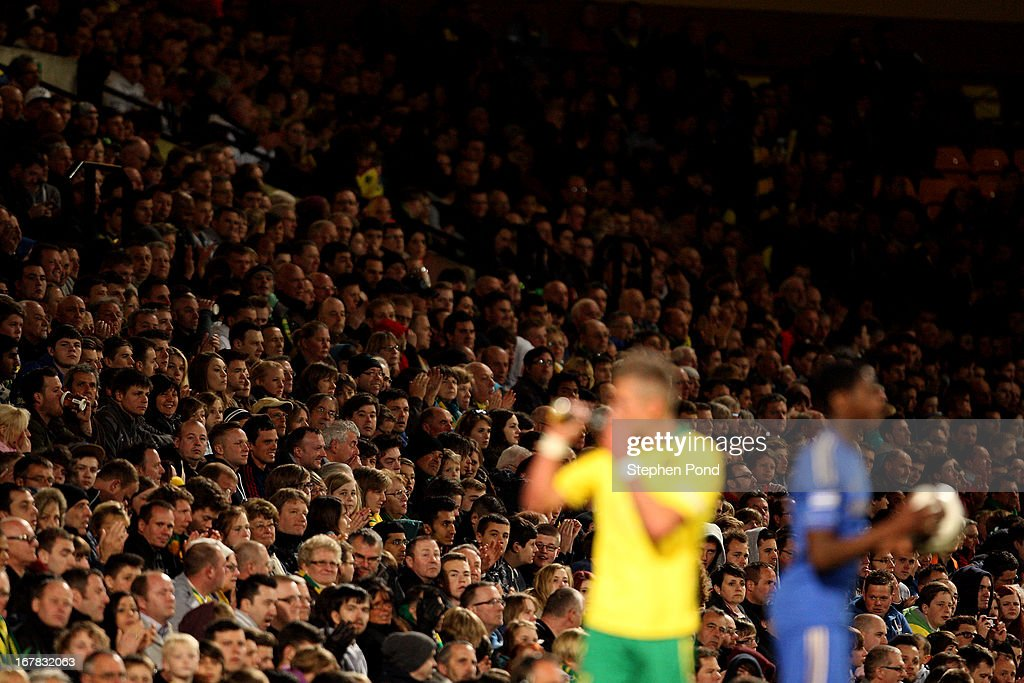 A large crowd look on during the FA Youth Cup Final First Leg match between Norwich City and Chelsea at Carrow Road on April 29, 2013 in Norwich, England.