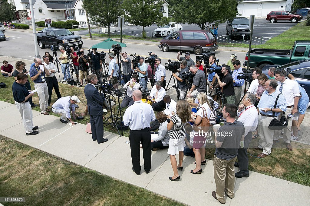 A large crowd of media formed in front of the court house to interview attorneys and court attendees. Former New England Patriots tight end Aaron Hernandez appeared in Attleboro District Court in Attleboro, Mass. on Wednesday, July 24, 2013.