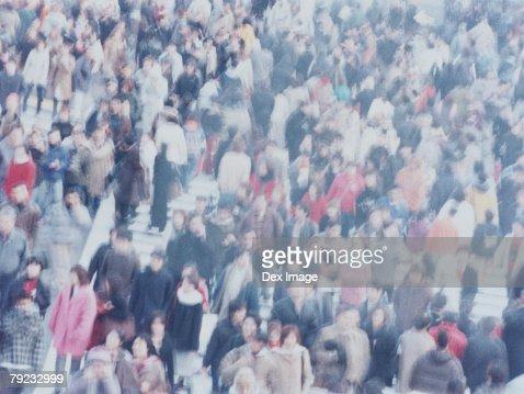 Large crowd of people crossing city street, Shibuya, Tokyo, Japan : Stock Photo