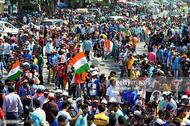 A large crowd of spectators near Janjirawal square trying to get entry inside Holkar Stadium on October 14 2015 in Indore India