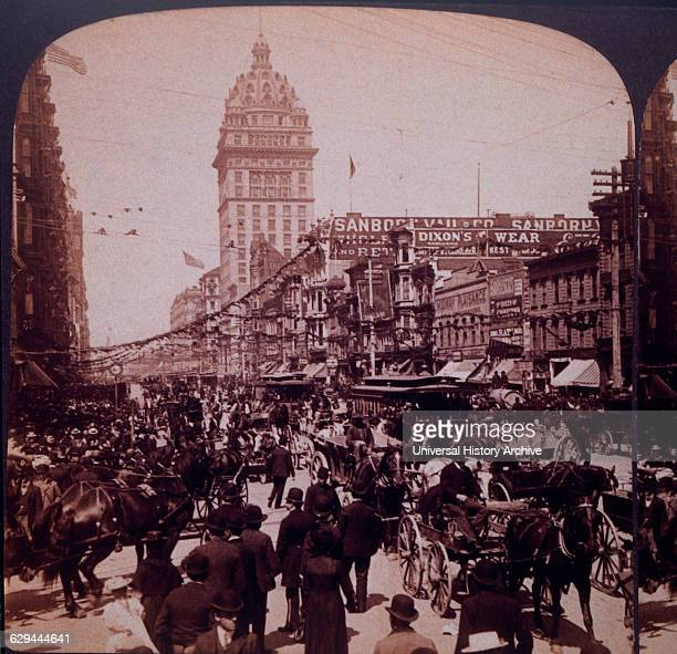 Large Crowd on Market Street San Francisco California USA 1901