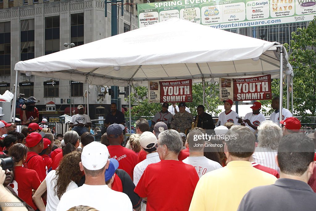 A large crowd packed fountain square for the Civil Rights Game Youth Summit/Wanna Play Spectacular on Saturday, May 15, 2010, at Fountain Square in Cincinnati, Ohio.