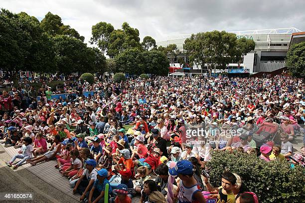 A large crowd packs into Garden Square to watch SpongeBob SquarePants perform as part of Kids Tennis Day ahead of the 2015 Australian Open at...