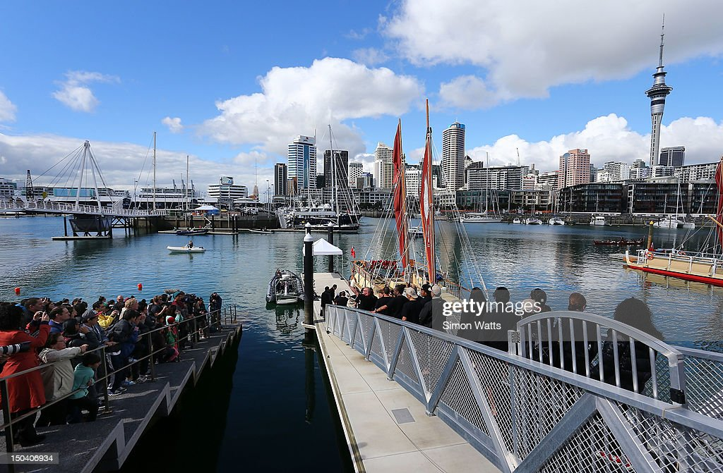 A large crowd prepare to farewell Waka Tapu as it departs from Viaduct Harbour, for a four month return voyage to Rapa Nui (Easter Island), on August 17, 2012 in Auckland, New Zealand. The 10,000 nautical mile voyage will retrace the ancestors of Maori when they first travelled across the Pacific to make their home in New Zealand.