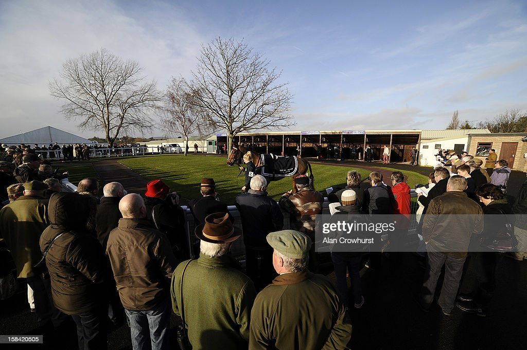 A large crowd watch the pre parade ring during the last meeting to be held at Hereford racecourse after 241 years of racing on December 16, 2012 in Hereford, England.