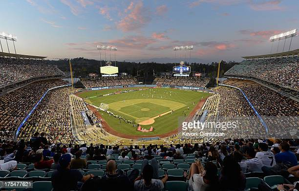 A large crowd watches Juventus take on Los Angeles Galaxy during the 2013 Guinness International Champions Cup at Dodger Stadium on August 3 2013 in...