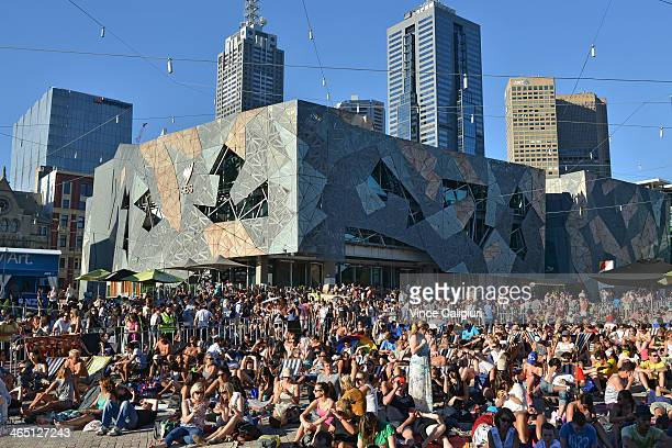 A large crowd watching the big screen at Federation Square ahead of the men's final match between Rafael Nadal of Spain and Stanislas Wawrinka of...