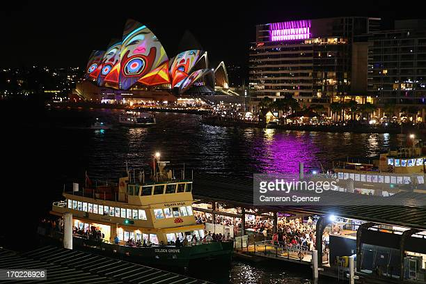 Large crowds are seen at Circular Quay ferry terminal during Vivid Festival at Circular Quay on June 9 2013 in Sydney Australia Traffic was brought...
