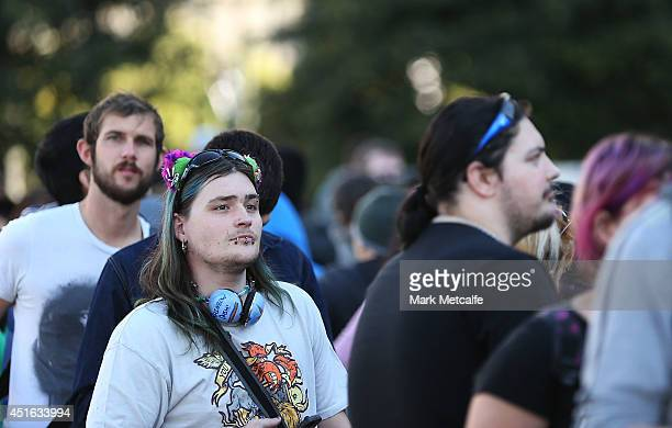 Large crowds queue for entry to the Game of Thrones exhibition at Museum of Contemporary Art on July 3 2014 in Sydney Australia Since the exhibition...