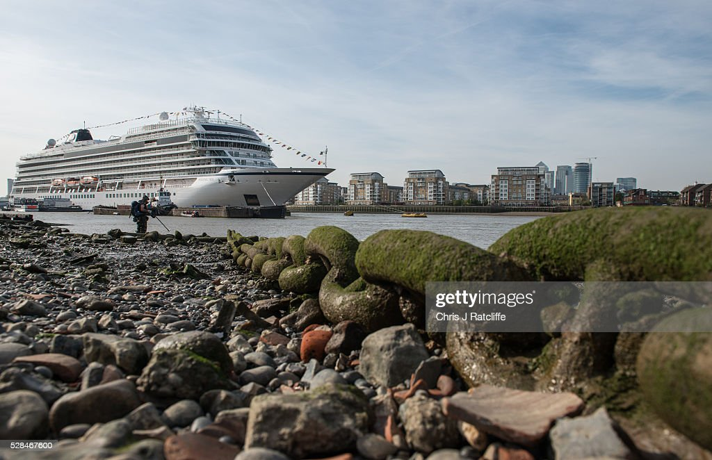 Large cruise ship Viking Sea moors in Greenwich on May 5, 2016 in London, England. The ship will be the first to be christening in London in a decade and is the largest ocean ship to be named at Greenwich. The vessel can carry 930 passengers and is over 18,000 feet long.