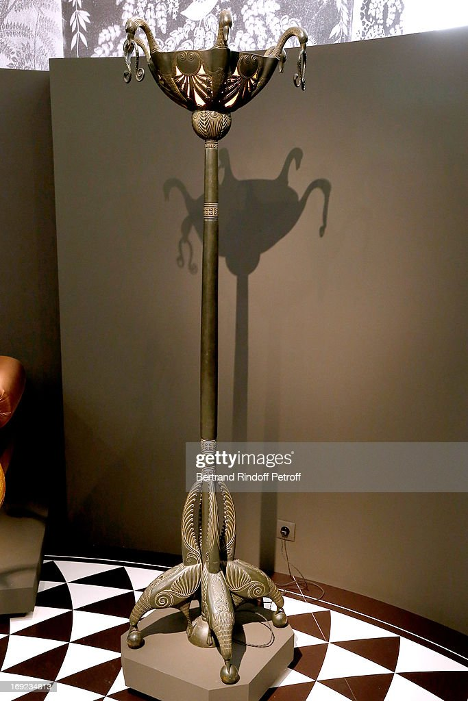 Large dark green patinated floor lamp 'aux oiseaux', 1921 from Bathroom created by the French Art Deco cabinet maker, Armand Albert Rateau (1882-1938), for the private apartments of the Duchess of Alba, dona Maria del Rosario de Silva y Gurtubay (1900-1934), in the Liria Palace, Madrid - Before the sale on 23rd May 2013, Christie's Press Preview Of The Collection Of The Duchess Of Alba Furniture on May 22, 2013 in Paris, France.