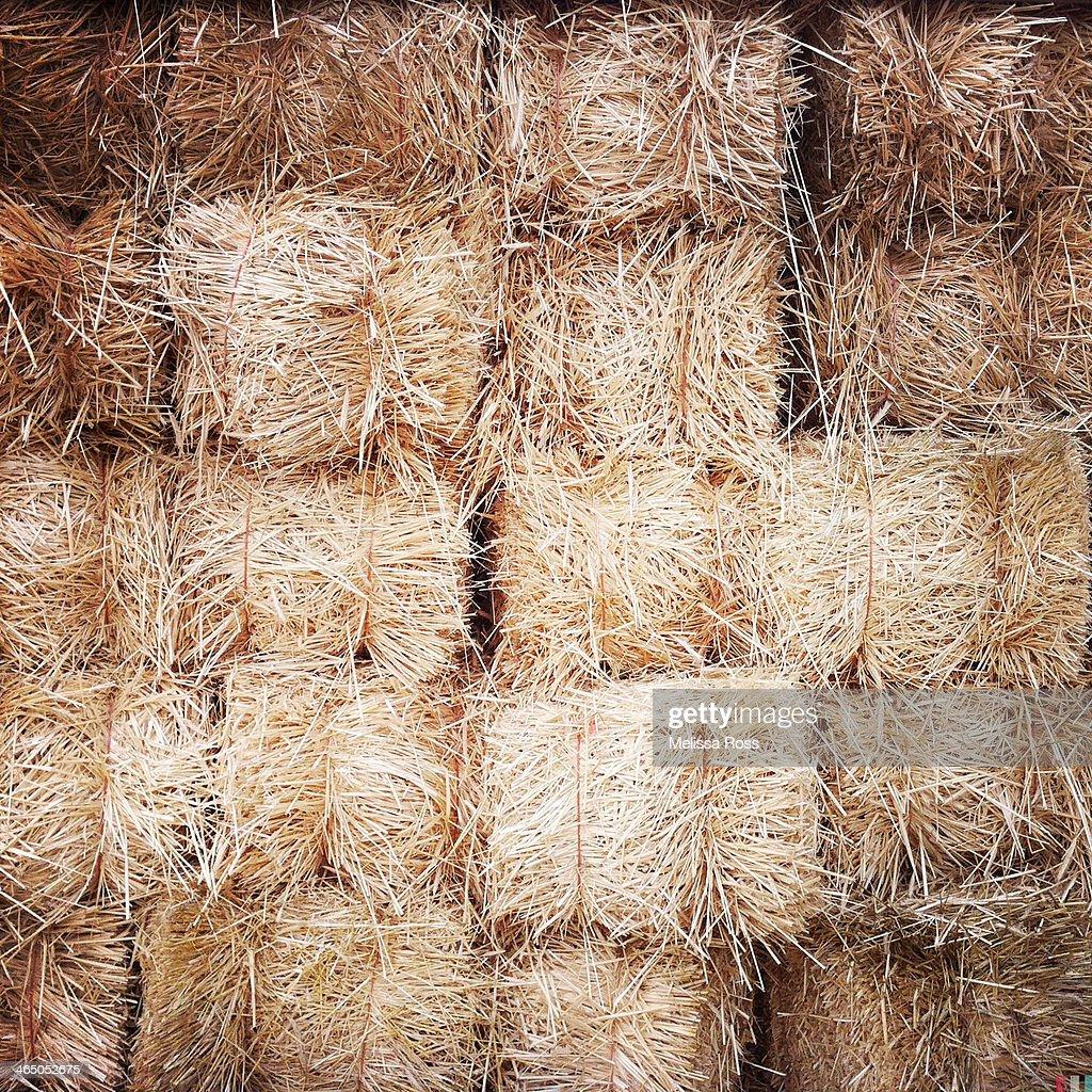 Large display of hay bales.