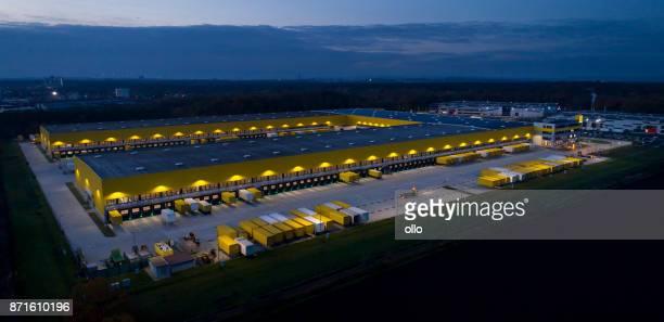 Large distribution hub, trucks and trailers