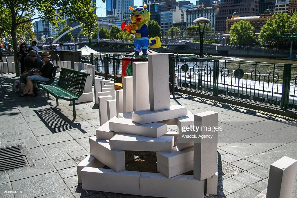 Large Dominoes on display during the Arts Centre Melbournes Dominoes arts project in Melbourne, Australia February 6, 2016. More than 7000 giant dominoes snaked through Melbourne city over 2km.