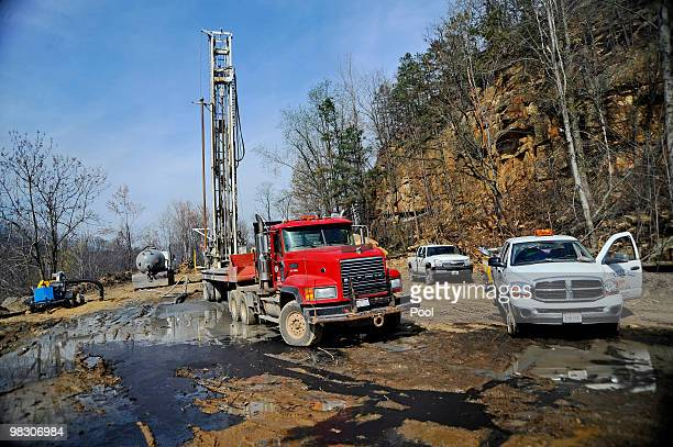 A large drill and fan left work above Massey Energy's Upper Big Branch Coal Mine April 7 2010 in Montcoal West Virginia The 560ft rotary drill which...