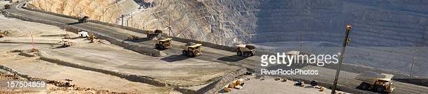 Large dump trucks in Utah copper mine