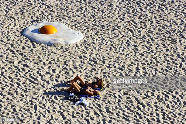 Large egg on Tamarama Beach, part of an exhibtion called Sculpture by the Sea, Tamarama Beach.