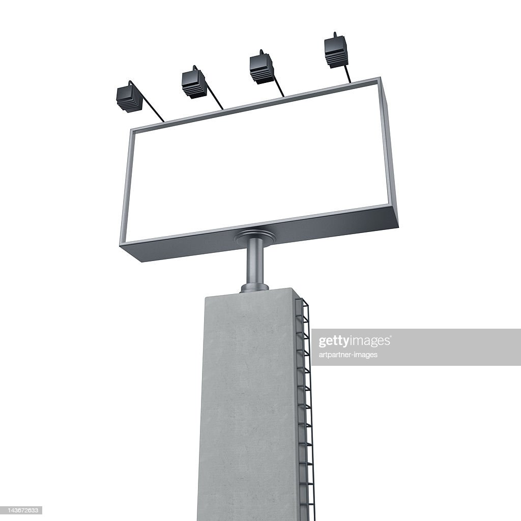 A Large empty billboard with lighting, on white : Stock Photo