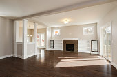 Empty living room in beautiful new home.