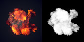 Large explosion with black smoke in dark with alpha channel. Top view. 3d rendering