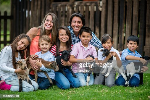 Large family at an animal park