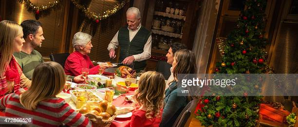 Large family celebrating Christmas holiday