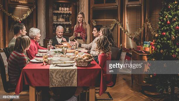 Large family celebrating Christmas holiday