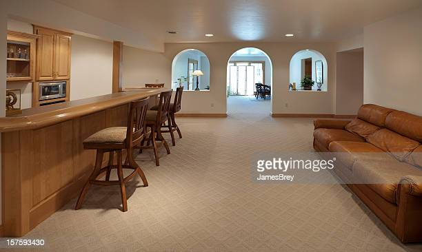 Large Finished Carpeted Basement With Bar