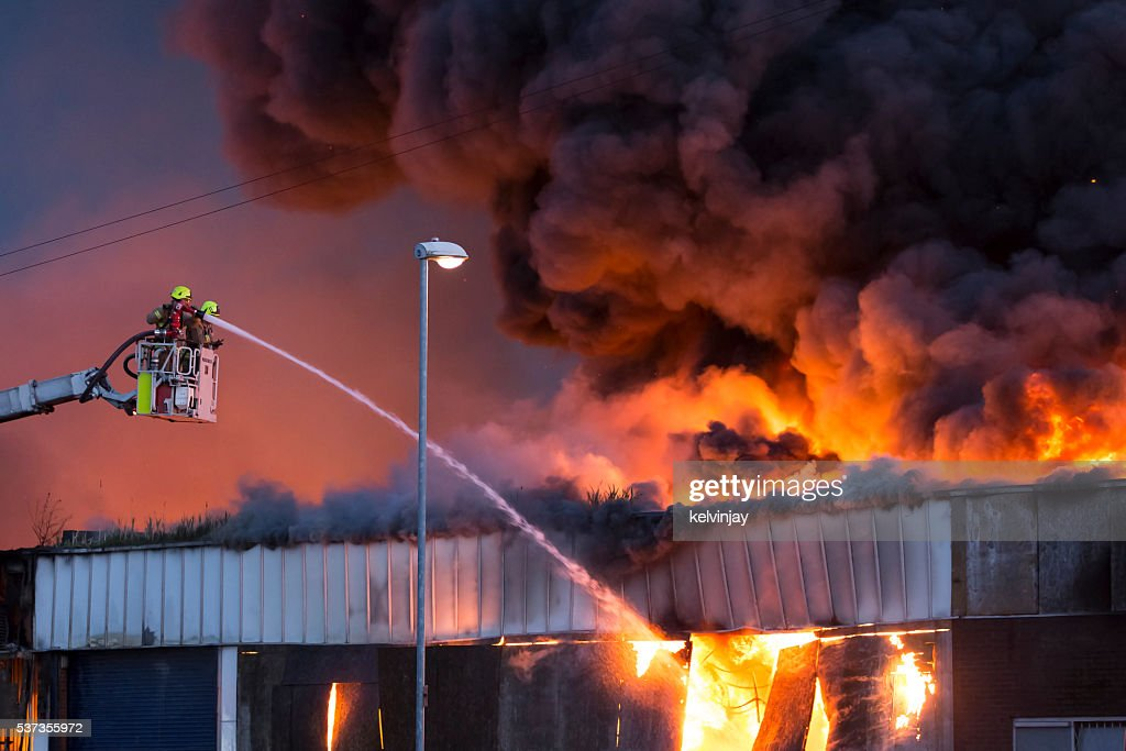 Large fire at a warehouse in Bramley, Leeds : Stock Photo