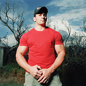 Large fit man in red shirt