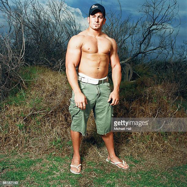 Large fit man with shirt off