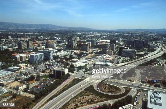 Large freeways curl through the city April 2000 in San Jose CA San Jose is experiencing a boom due to the large number of hightech companies in the...
