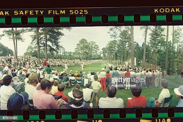 A large gallery surrounds a green in a panoramic photograph during the 1981 Masters Tournament at Augusta National Golf Club on April 1981 in Augusta...