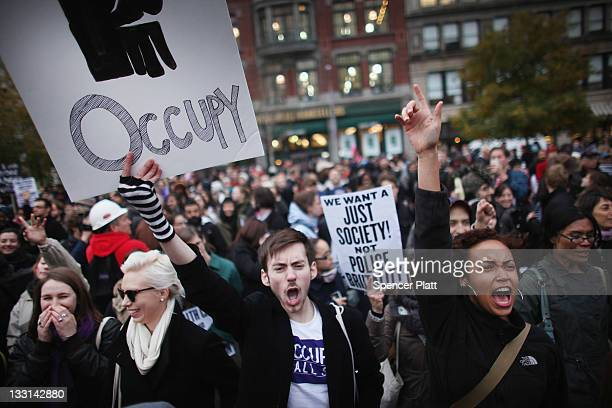 A large gathering of protesters affiliated with the Occupy Wall Street Movement attend a rally in Union Square on November 17 2011 in New York City...