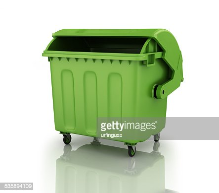 large green recycling bin : Stock Photo