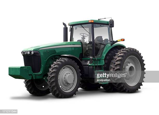 Large green tractor against a white background