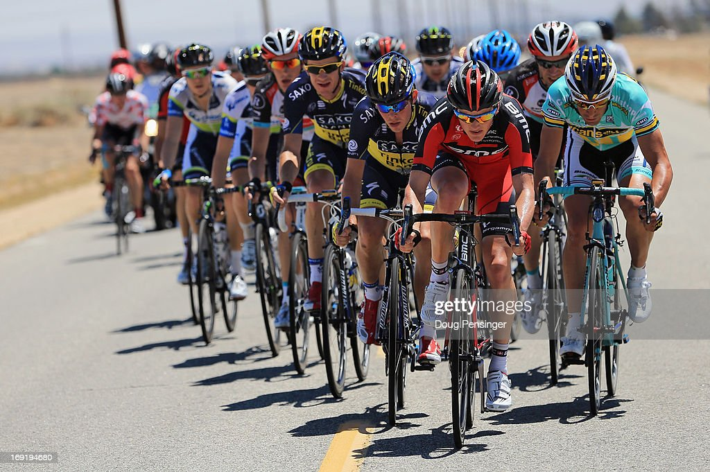A large group breaks away from the front of the race which was sheered into several echelons under strong winds early in Stage Three of the 2013 Amgen Tour of California from Palmdale to Santa Clarita on May 14, 2013 in Palmdale, California.