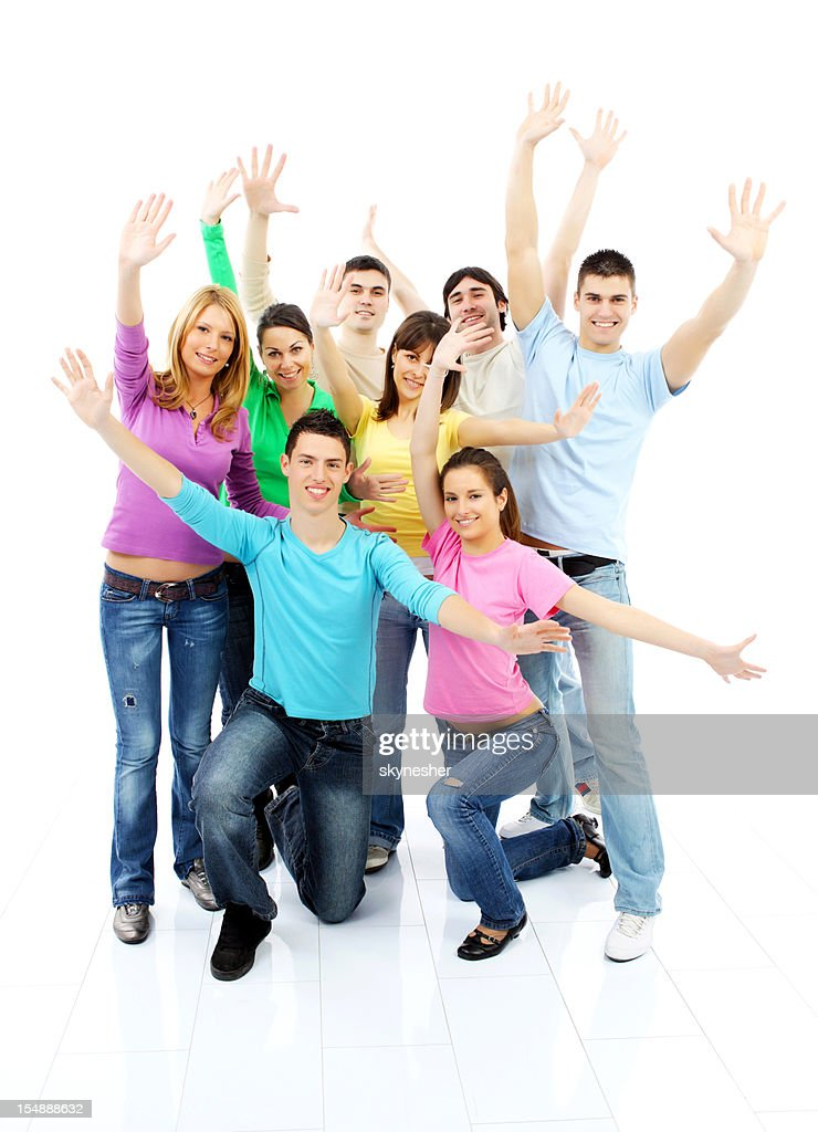 Large group of a happy friends with open arms. : Stock Photo