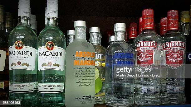 Large Group Of Alcohol Bottle Variations On Counter In Bar