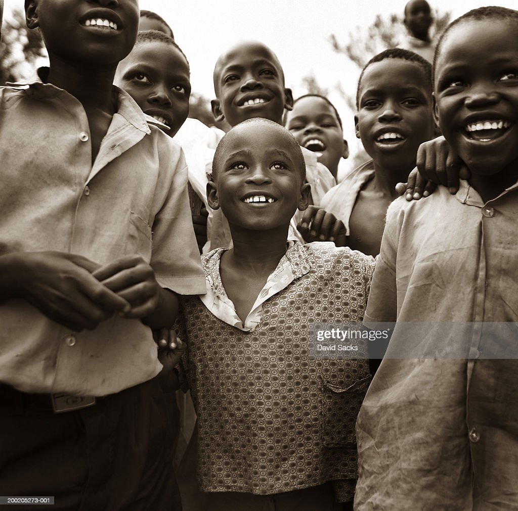 Large group of boys (5-10) smiling (toned B&W) : Stock Photo