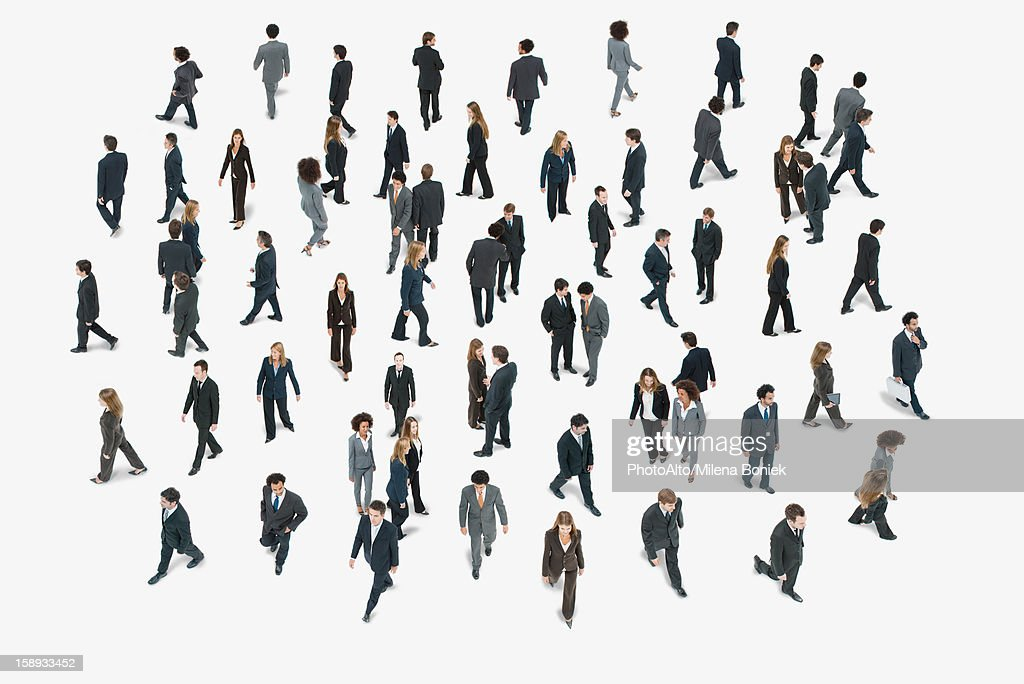 Large group of business people, high angle view