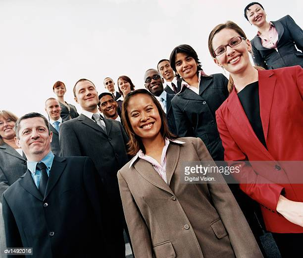 Large Group of Business People Standing Outdoors