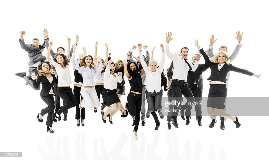 Large group of cheerful business people.