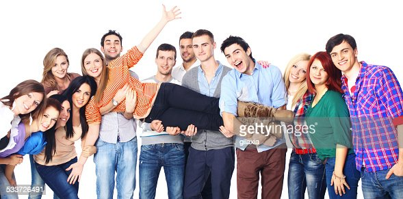 Large group of cheerful young adults.